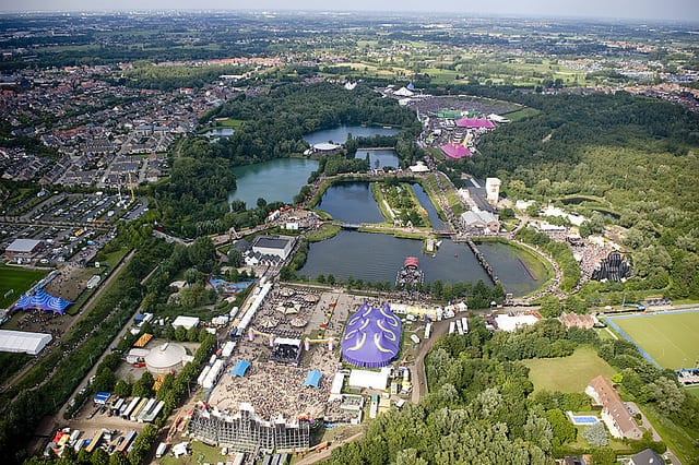 Aerial view of Tomorrowland in Boom, Belgium. Photo taken by Luchtfoto.