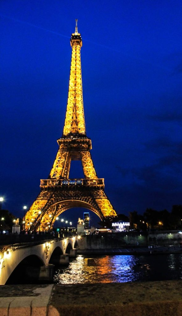 At night, the Eiffel Tower sparkles every hour, on the hour. Photo taken by Josie Lucero.