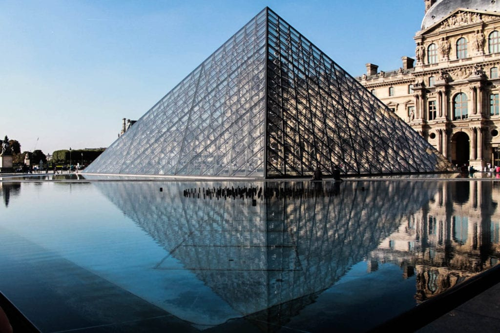 The Louvre pyramid that is made of glass is one of the main entrances into the Louvre. Photo taken by Josie Lucero.