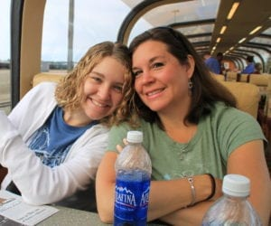 My mother and i on a train in Alaska