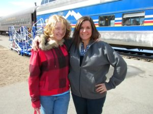 My mother and I next to the Rio Grande Railroad in Colorado.